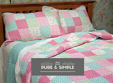PATCHWORK BEDSPREAD QUILT COTTON POLKA DOT SCALLOP SINGLE DOUBLE KING NICOLE