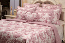 TOILE DE JOUY PATCHWORK QUILT COMFORTER BEDSPREAD THROW DUVET COVER WHITE/RED
