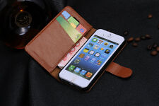 iPhone 5 5s Genuine Leather Cowhide Flip Card Wallet Case Cover Video Stand