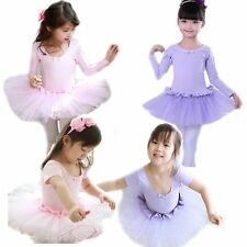 Girls Party Ballet Tutu Dress Pink Leotard Costume 3-8Y Kids Dancewear Skirt New