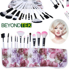 Pro Makeup Brush Cosmetic Brushes Set Kit Tools + Bag Case Pouch 12 pcs New