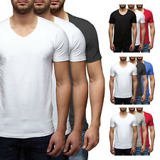 3er Pack - Jack & Jones V-Neck Basic T-Shirt 12059219 Weiß, Schwarz, Grau, Blau