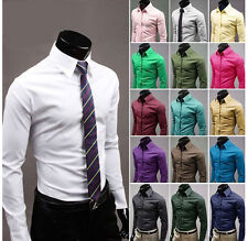 New Men's Luxury Casual Formal Slim Fit Stylish Dress Shirts Collection 17Colors
