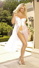 Sexy White Bride Underwire Chemise Gown Matching Thong  Size Large EM1844
