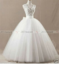 Latest Style White/Ivory V-Neck Bow Lace Ball Gown Wedding Dresses Bridal Gown