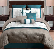 Comforter Set - 10 pc Comforter Set Embroidered Pintucks in Taupe / Teal / Ivory