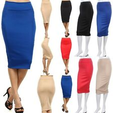Solid Bodycon Midi Skirt Below Knee Length Fitted Straight Pencil Stylish S M L