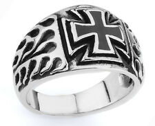 STAINLESS STEEL IRON CROSS RING WITH ENAMEL CROSS IN THE MIDDLE SIZES 10-14 R96