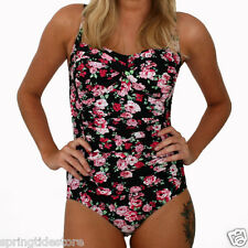 ♥ NEW! GEORGIA Black Floral Ruched One Piece Ladies Swimsuit Size 12 14 16 18 ♥