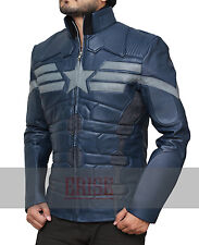 Captain America Winter Soldier Blue leather Jacket –100% Money Back Guarantee!!!
