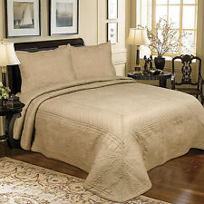 NEW LATTE COFFEE BROWN EMBROIDERED THROW SOFA  BEDSPREAD QUILT COTTON PATCHWORK