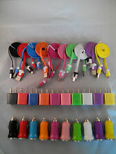 Wall +Car Charger +2x Micro USB Flat Sync Data Cables Samsung Galaxy S4 S3 S2 LG