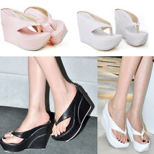 3Colors Women's Wedge Heels Flip-flops Sandals Thong Slippers Platform Shoes