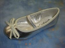 New Baby Girl Silver Ballet Flats Ballerina Slippers/ Slip On Shoes/ 6-8 Toddler