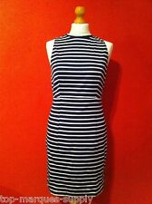 "BNWT "" Glamorous ""6 8 10 12 Sleeveless Striped Knee Length Blue Summer Dress"