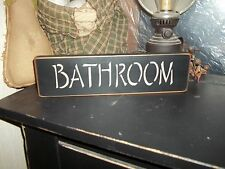 Primitive Signs BATHROOM Wood Rustic Block Shelf Sitter Bath Room Decor Sign