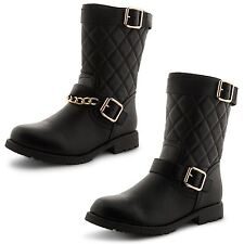 New Ladies Quilted Low Cuban Heel Zip Up Riding Biker Ankle Boots Size Uk