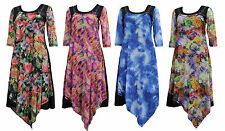 NEW Ladies Abstract Print 3/4 Sleeve Tunic Dress SIZES 10 12 14 16 18
