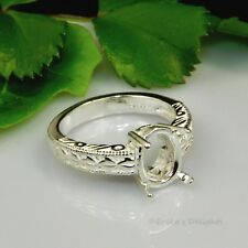(7x5 - 18x13) OVAL Engraved Shank Sterling Silver Pre-Notched RING Setting