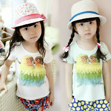 New Kids Toddlers Girls Layers Of Feathers Parrot Image  Shirts Tops 3-8 Y T276