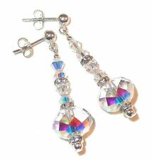 SWAROVSKI Elements 5040 CRYSTAL EARRINGS Sterling Silver Dangle CLEAR AB