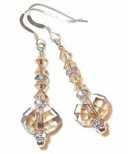GOLDEN SHADOW Crystal EARRINGS Dangle 5040 Sterling Silver Swarovski Elements