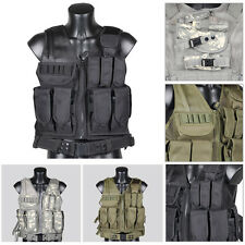 Tactical Military Combat Swat Utility Outdoor Vest w/ Pistol Holster