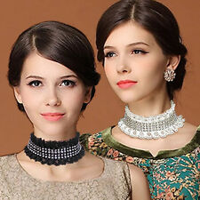 Fashion Lace tassel crystal Detachable False Collar Necklace