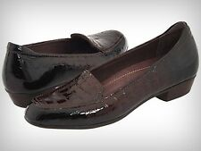 New Clarks Women's TIMELESS Dark Brown Croc Patent Leather Loafer 82700