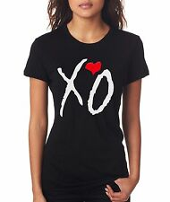 XO HEART THE WEEKND DRAKE HIP HOP MUSIC GIRLS WOMENS CREW NECK COTTON T-SHIRT