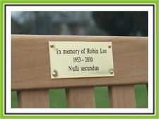 "8 x 4"" ENGRAVED POLISHED BRASS BENCH PET MEMORIAL PLAQUE SIGN"