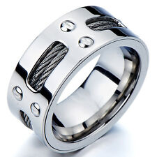 Man's Stainless Steel Ring Wedding Band with Steel Cables and Screws 10MM