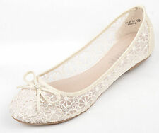 Ivory Lace Wedding Ballerina Bridal Flat Pumps Size 4-9