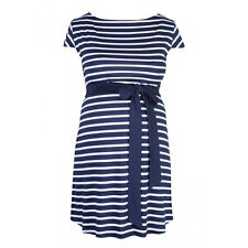 Heavenly Bump Maternity Stripe Sash Tie Tunic - Navy / White Pattern