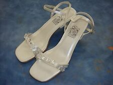 White Satin Special Occasions Sandals by SAUGUS SHOE/ Size 6 to 10/ SALE !!!