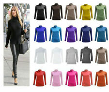 LADIES BASIC GATHERED POLO ROLL NECK NEW WOMENS LONG SLEEVE STRETCH CASUAL TOP