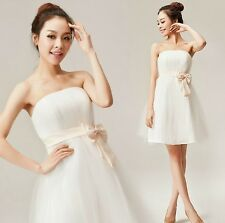 White Women Lace Ball Gown Homecoming Evening Cocktail Party Wedding Mini Dress