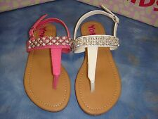Girls Flat Fuchsia & White Sandals /size 10 Toddler to 4 youth/ SALE!!!
