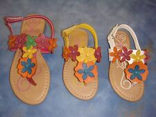 Girls Flat Sandals /White, Yellow & Fuchsia / size 5 Toddler to 4 youth/ SALE!!!