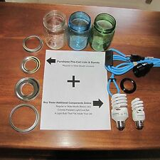 "DIY Mason Jar Hanging Pendant Light LIDS (Reg or Wide Lids) 1-3/8"" & 1-1/2"" Hole"