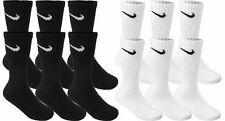 DEAL! NEW AUTHENTIC NIKE Crew Socks 6 PAIR -BLACK- WHITE ~Size 10-12 Men's Women