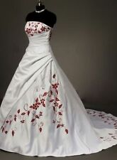 New White & Red Embroidery Satin Wedding Dress Custom Size 6 8 10 12 14 16