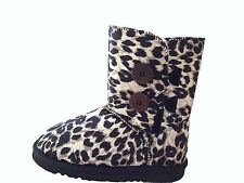 UGG Boots 2 Button Synthetic Wool Colour Black Leopard Multi Size