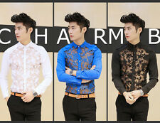 Hot Trend Mens Sexy Lace Stitching Slim Fit Long Sleeve Casual Shirt 3 Colors