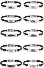 New Leather with Stainless Steel 10 designs Bracelet+Jewelery Gift-Bag