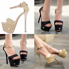 Women Super High Heels Sandals Platforms Shoes Stilettos Ankle Chain Rhinestone