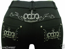 NEW Ladies Stretchy Black Fashion Embroidey Crown Skinny Jeans Jeggings Leggings