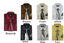 Men's French Cuff Dress Shirt With Matching Tie and Handkerchief Style SG35