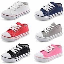New Infants Boys Girls Casual Lace Up Canvas Pumps Summer Leisure UK Size 6-5