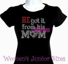 He Got It - SOCCER - Rhinestone Iron on T-Shirt - From His Mom Sports Top
